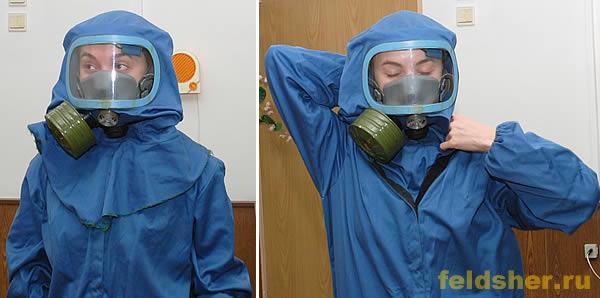 как одевать противочумный костюм инструкция