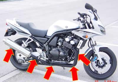 горячие трубы под брюхом мотоцикла